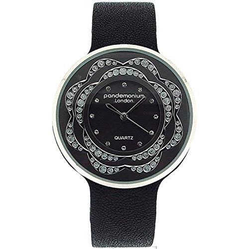 Pandominium London Damen Modeuhr mit schwarzem Armband und Zirkonia PL116
