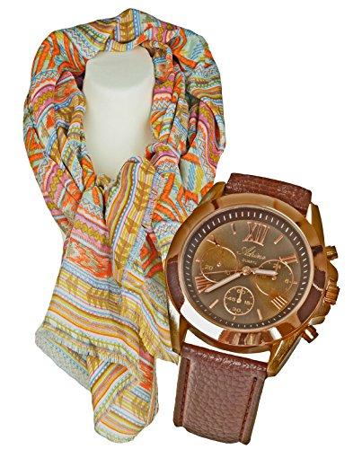 mit Damenschal Halstuch im Azteken Look klassisch elegantes Geschenk Set