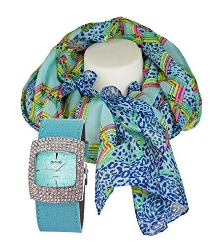 mit Damenschal Halstuch im Leoparden Design modisch elegantes Geschenk Set