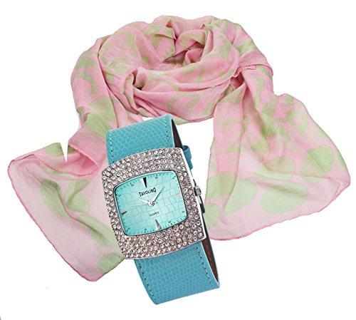 mit Damenschal Halstuch im Lilienblueten Design modisch elegantes Geschenk Set