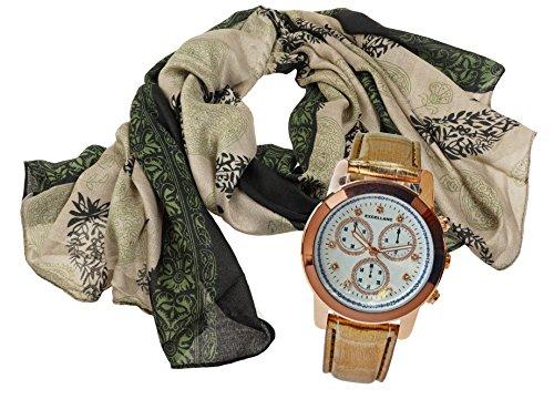 Modisch elegantes Geschenk Set mit Damenschal Halstuch im paisley Design