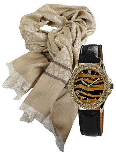 Elegantes Geschenk Set mit Damenschal Halstuch im Leo Look klassisch