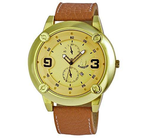 Herren Armband Uhr Modell Sarzor extra grosses Gehaeuse goldfarbenes Zifferblatt