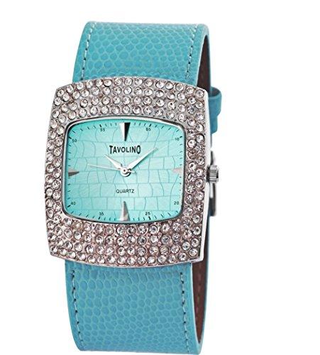 Modische Damenarmbanduhr Edel mit Strass Crystal Besatz Silber Blau