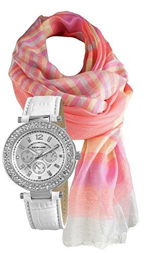 Modische Edel mit Strass Crystal Besatz Geschenk Set mit Schal aus Seidenmischung