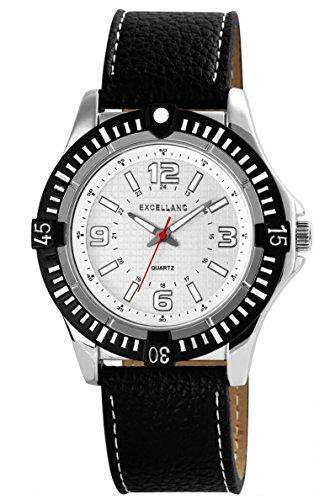 Modische Exclusive Quarz mit grossem Gehaeuse Armbanduhr schwarz silber