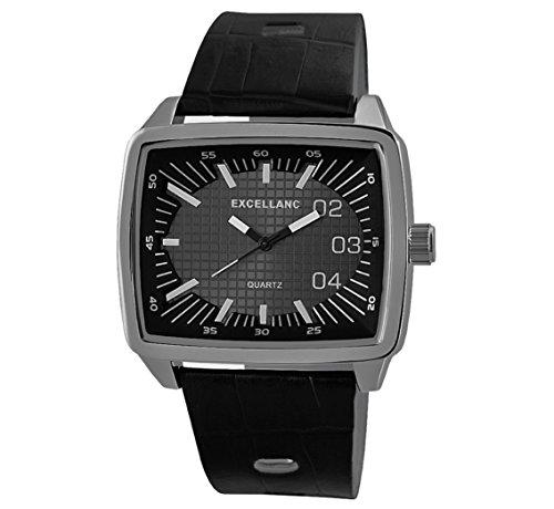 Modische Exclusive mit grossem Gehaeuse Armbanduhr schwarz silber