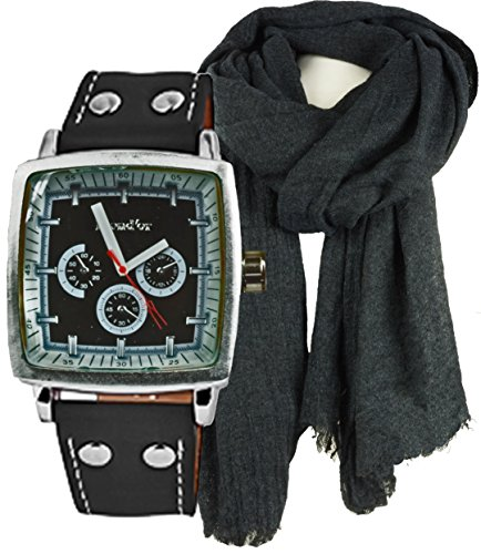 Geschenk Set Schal und Exclusive Quarz mit sehr grossem Gehaeuse sportliche Armbanduhr im Set mit Herrenschal in angenehmer Tragequallitaet mit Wollanteil