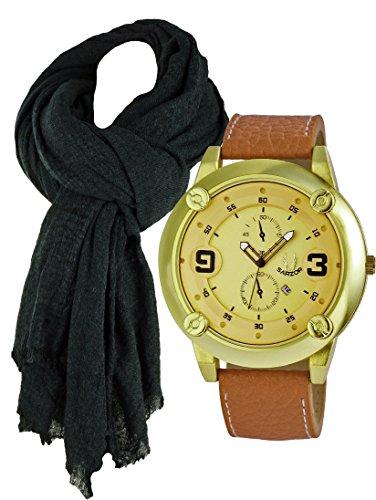 Uhr und Schal Exclusive Quarz mit sehr grossem Gehaeuse aussergewoehnliche Armbanduhr im Set mit Herrenschal in angenehmer Tragequallitaet mit Wollanteil