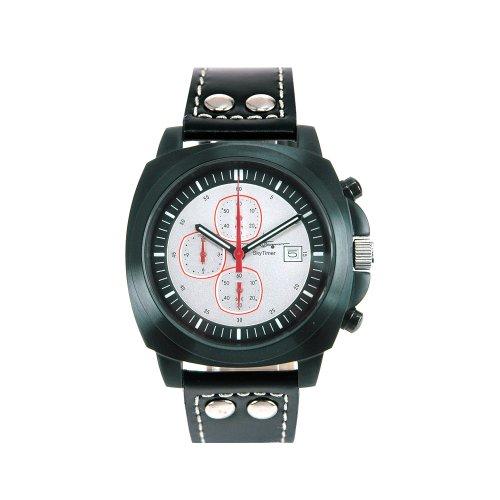 SkyTimer Fliegeruhr 507635405 Chronograph Lederband Gehaeuse schwarz Zifferblatt weiss Miyota OS10 5 ATM