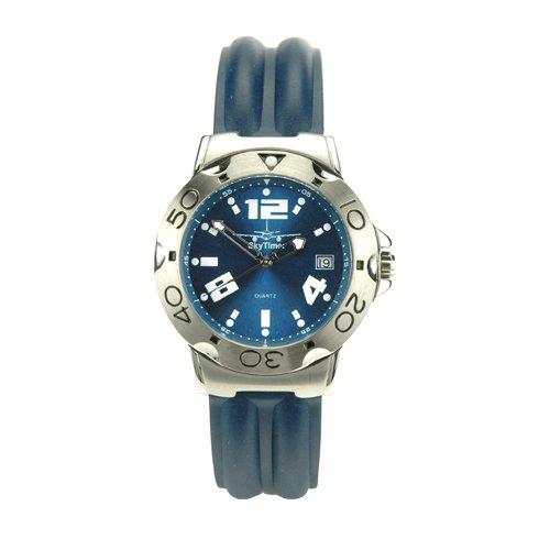 SkyTimer Herrenarmbanduhr 507625004 Taucheruhr 10 bar Kautschukband Zifferblatt blau