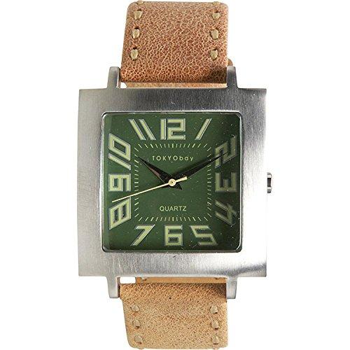 Tokyobay T105 TAN Maenner rostfreies Tan Leder Band gruene Vorwahlknopf analoge Uhr