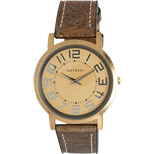 Tokyobay T135M GD Frauen Edelstahl Eva Brown Platform Lederband Metallic Gold Zifferblatt Watch