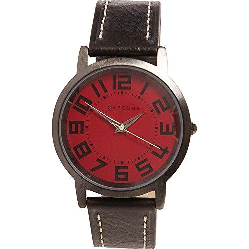 Tokyobay T157 RD Unisex Edelstahl Bold Schwarz Lederband Rot Zifferblatt Watch