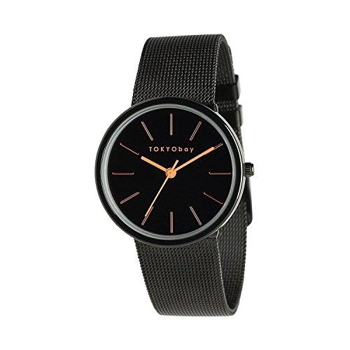 Tokyobay T2031 BK Frauen Edelstahl Armband Band schwarzes Vorwahlknopf runde Uhr