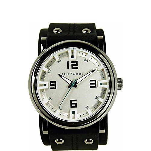 Tokyobay T2065 BK Unisex Edelstahl Lederband weisses Zifferblatt Watch