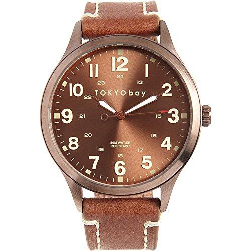 Tokyobay T227 BR Herren Edelstahl Mason Braun Lederband Braun Dial Watch