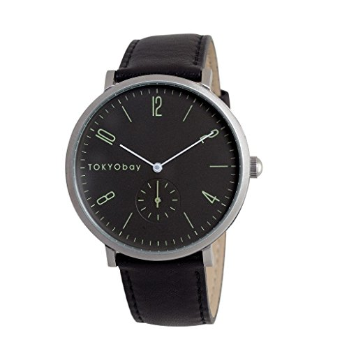 TokyoBay t336 bk Herren Edelstahl schwarz Leder Band Schwarz Zifferblatt Smart Watch