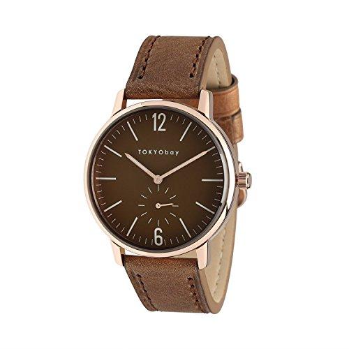 Tokyobay T337 RG Herren Edelstahl braunes Lederband braunes Zifferblatt Watch
