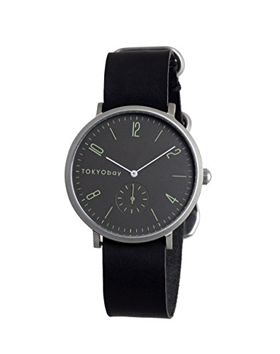 TokyoBay t338 bk Herren Edelstahl schwarz Leder Band Grau Zifferblatt Smart Watch