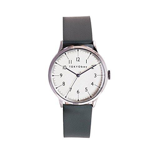 Tokyobay T339 GR Herren Edelstahl Lederband weisses Zifferblatt Watch