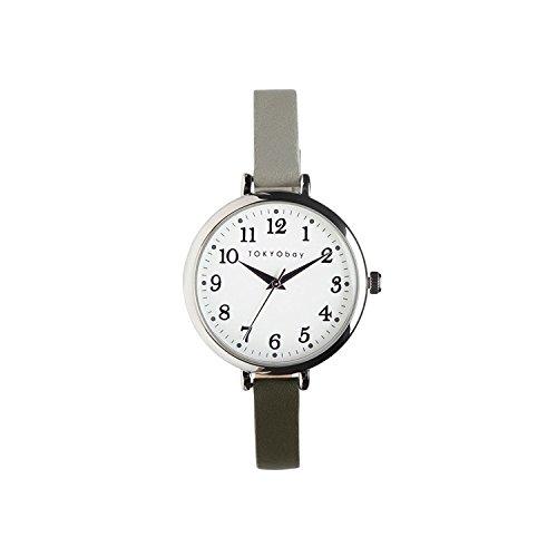 Tokyobay T523 GR Damen Edelstahl Grau Lederband Weiss Zifferblatt Rund uhr