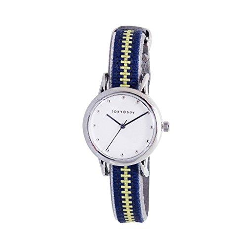 TokyoBay t623 nv Damen Edelstahl Navy Leder Band Weiss Zifferblatt Smart Watch