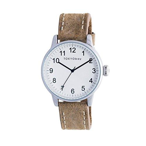 TokyoBay t626 br Herren Edelstahl braun Leder Band Weiss Zifferblatt Smart Watch