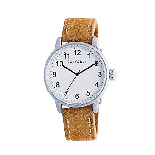TokyoBay t626 tan Herren Edelstahl Leder Band Weiss Zifferblatt Smart Watch