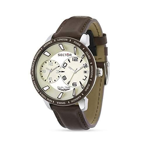 Sector Herren-Armbanduhr XL 400 Chronograph Leder R3251119004