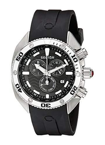 Sector-r3271670125-Zeigt Herren-Quartz Chronograph Armband Silikon Schwarz