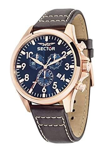 Sector Herren-Armbanduhr 180 Chronograph Quarz Leder R3271690019