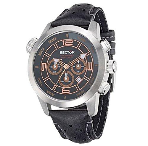 Sector Herren 48mm Chronograph Schwarz Leder Armband Mineral Glas Uhr 3271602004