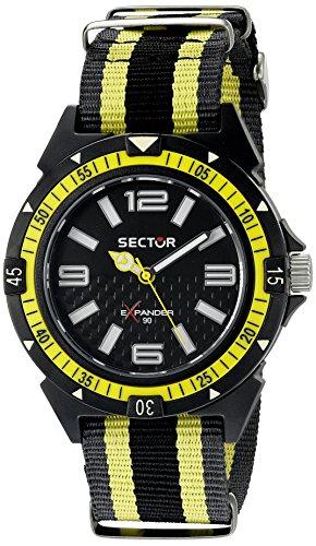 Sector Uhr mit Miyota Uhrwerk Expander 90 schwarz gelb 44 mm