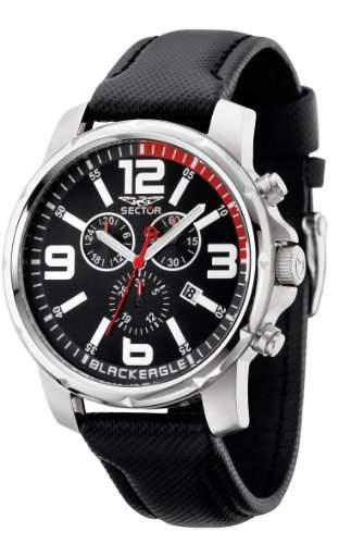 Sector Herren-Armbanduhr XL Black Eagle Chronograph Leder R3271689002