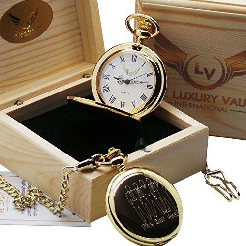 The Rat Pack goldene Luxus Taschenuhr 24 Karat vergoldet in Holz Geschenkbox Frank Sinatra Dean Martin Sammy Davis Junior