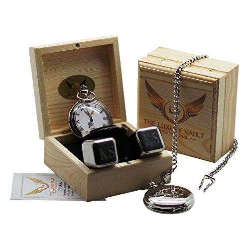 TLV Taschenuhr aus Stahl und Set bestehend aus Wuerfeln in Eiswuerfel Optik Personalisierbar Luxus Geschenk Set
