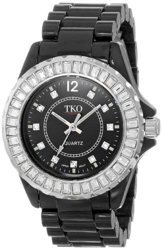 TKO ORLOGI Frauen TK608-BK Ceramix-Ice Black Acrylic Crystallized Luenette Uhr
