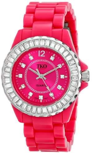 TKO ORLOGI Frauen TK608-FS Ceramix-Ice Fuchsia Acryl Crystallized Uhr