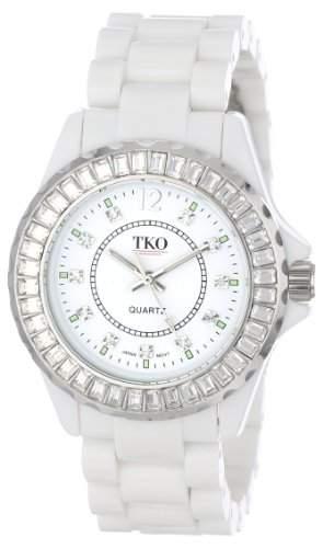 TKO ORLOGI Frauen TK608-WT Ceramix-Ice White Acryl Crystallized Luenette Uhr