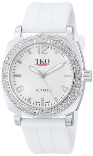 TKO ORLOGI Frauen TK612-WT Milano Ice Metal Case Kristall Luenette Weiss Rubber Uhr