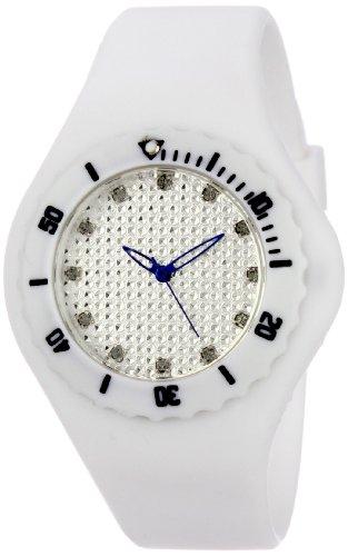 TKO ORLOGI Frauen TK596WT Strand Pave Lightweight Weiss Rubber Uhr