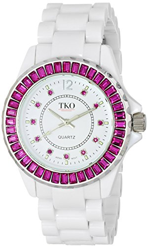 TKO ORLOGI Frauen TK608 WFS Ceramix Ice White Acryl rosa Kristalle Uhr