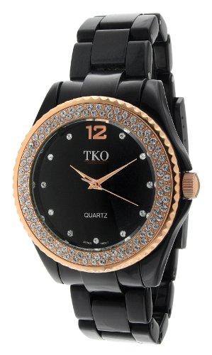 TKO ORLOGI Frauen TK539 BRG Ceramic Ice Swarovski Crystal Akzent Glossy Black Plastic Case und Armband Uhr