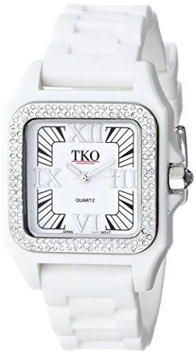 TKO ORLOGI Frauen TK541 WT Riviera Ice White Kunststoffgehaeuse mit Swarovski Crystals Uhr