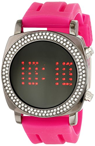 TKO ORLOGI Frauen TK572 FS Crystalized Milano Digitale Fuschia Rubber Strap Uhr
