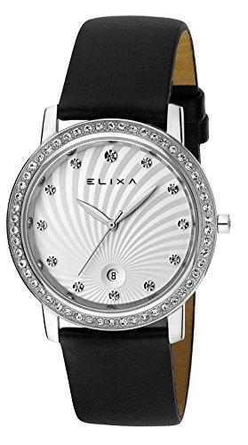 Elixa e044 l137 Damen Kristall mit Akzenten Uhr Finesse Sonnenstrahl Zifferblatt Luenette Schwarz