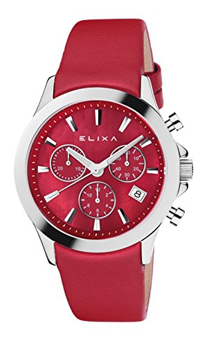 Elixa e079 l305 geniessen Chrono Swiss Rhonda Bewegung Rot Satin Gurt
