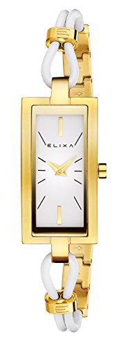 Elixa e097 l379 goldfarben rechteckig Fall Leder Stahl Band