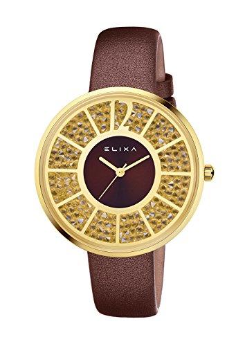 Uhr Elixa weiss mit Swarovski Elements in Gold